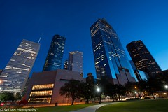 WHEN THE SUN GOES DOWN IN H-CITY (RUSSIANTEXAN) Tags: park blue sunset reflection skyscraper photography nikon exposure downtown texas sam houston le hour anvar khodzhaev svetan d800e
