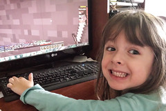 Playing Minecraft (Vegan Butterfly) Tags: playing game computer person pc video kid vegan child play gamer minecraft