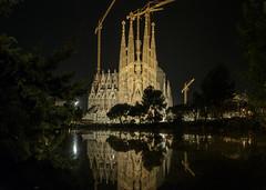 Sagrada  Familia de Noche (MrDaVidU) Tags: barcelona nocturna catalunya sagradafamilia catalua reflejos