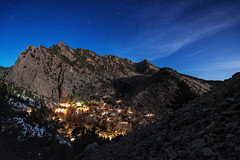 On the Trail of the Night Watchman (courtney_meier) Tags: longexposure night clouds stars nightscape nocturnal moonlight flatirons bearpeak eldoradosprings eldoradocanyon streamingclouds