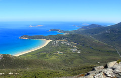 Amazing lookout at Mount Oberon (Julia_Kul) Tags: ocean park travel blue sea summer wallpaper vacation sky sun mountain holiday tourism beach nature water beautiful beauty rock forest landscape coast bush sand view outdoor background hill australia victoria tourist panoramic calm mount southern cape coastline outlook wilderness peninsula oberon gippsland promontory clearall