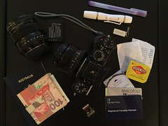 What's in my carry on bag no. 4 (dagboshoots) Tags: hk 35mm bag hongkong fuji content stuff inside whatsinmybag carry obsessive carryon on minutia insidemybag xt1 dagbo