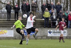 Nicky Little has freed the ball and there can be only one outcome (Stevie Doogan) Tags: park west scotland scottish first super juniors division league holm clydebank bole maybole bankies mcbookiecom