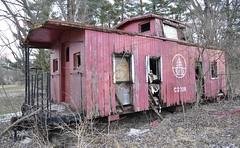 Reynoldsburg, Ohio (1 of 8) (Bob McGilvray Jr.) Tags: wood railroad ohio red abandoned rotting train wooden tracks caboose cupola oh bo abused trashed reynoldsburg baltimoreohio c2208