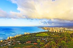 Waikiki Beach seen from Diamondhead (cpa33333) Tags: ocean blue sky mountain beach nature clouds sunrise landscape peace waikiki calm