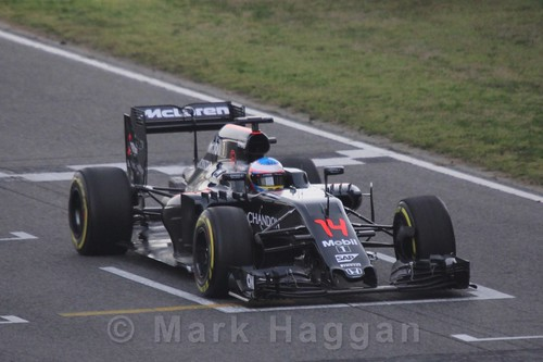 Fernando Alonso in his McLaren during Formula One Winter Testing 2016