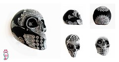 CALAVERA NEGRA (chipotlearteartesanias) Tags: black mxico skull handmade negro handcraft calavera hechoenmexico madeinmexico cartoneria chipotlearte