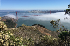 Headlands Golden Gate (Norscout) Tags: ocean sf sanfrancisco above city bridge sea sky fog clouds bay view marin goldengatebridge goldengate headlands marinheadlands