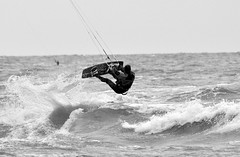 Jumping waves (vanderven.patrick) Tags: ocean sea blackandwhite jump jumping nikon waves action sigma kitesurfing extremesports watersports d7100 150500