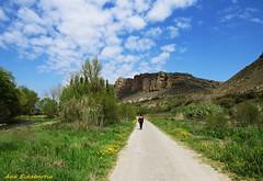 El paseo (kirru11) Tags: espaa ro canon persona rboles paseo cielo nubes quel peas verdes rocas huertas larioja viaverde rocidacos floressivestres kirru11 anaechebarria