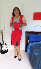 Red (Trixy Deans) Tags: cute sexy classic tv cd crossdressing tgirl tranny transvestite transgendered crossdresser crossdress sexylegs transsexual classy trixy cocktaildress sexyblonde tgirls xdresser sexyheels trixydeans sexytransvestite
