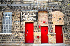 APEX (johnfromtheradio) Tags: red chicago st wall paint doors apex fireescape fulton