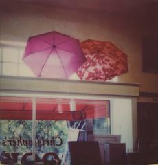 Christopher's Books, Potrero Hill (H Polley) Tags: sanfrancisco color film umbrella polaroid bookstore 600 umbrellas potrerohill impossible instantfilm testfilm impossibleproject tipshow snapitseeit instantlab gen30