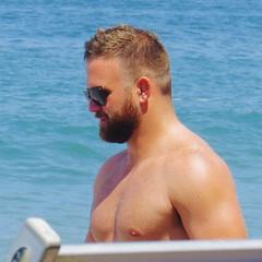 IMG_1106 (danimaniacs) Tags: shirtless man hot sexy guy beach pecs beard beefy stud scruff mansolo