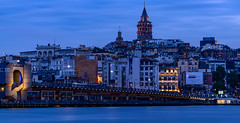 Galata Tower - Evening Blue Hour (Aleem Yousaf) Tags: bridge blue tower turkey photo nikon long exposure walk istanbul hour bosphorus d800 galata evenng 72200mm