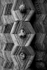 Cathedral Texture II (Josieroo13) Tags: uk england blackandwhite detail texture geometric monochrome stone pattern cathedral columns masonry carving repetition lincoln lincolncathedral