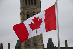 Canadian Flag at the Battle of the Atlantic ceremony on Parliament Hill (Mark Blevis) Tags: ottawa wwii ceremony parade atlantic parliamenthill battleoftheatlantic