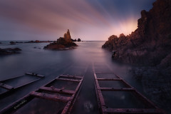 Arrecife de las sirenas (Iván F.) Tags: las seascape colour water clouds de landscape landscapes spain cabo nikon rocks long exposure nightscape rail embarcadero nocturna gata 28 tamron almeria arrecife 1530 sirenas d800e