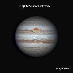 Jupiter With Great Red Spot 16.04.16 @21.31UT (Ralph Smyth) Tags: planet jupiter celestron