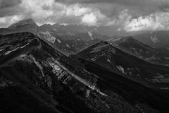 Vercors : Le Jocou (Quentin Verwaerde) Tags: blackandwhite bw mist mountain nature beauty pine forest montagne walking landscape photography solitude photographie noiretblanc hiking nb beaut effort lonely paysage vercors marche fort greatness sapin brume solitaire rverie reverie efforts randonne grandeur vagrancy vagabondage verwaerde quentinverwaerde