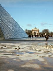Paris (Jorkew) Tags: morning people paris france streets mamiya glass architecture pond construction 645 pyramid kodak louvre candid empty c sunday n 400 pro frankrijk portra f28 palaisdulouvre vijver 80mm museedulouvre iledecite sekor pyramiddulouvre
