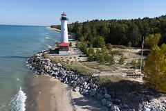 Crisp Point Lighthouse October 2015-3 (Invinci_bull) Tags: lake kite fall michigan fallcolors aerial kap upperpeninsula lakesuperior aerialphotography kiteaerialphotography crisppoint michigansupperpeninsula