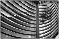 Round Corners (Rolf Siggaard) Tags: bw abstract building monochrome museum architecture blackwhite losangeles shapes structure manmade c1 gettycentre captureone mirrorless fujix100s 23mmapsc