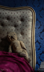 teddybear, teddy bear say goodnight (Fragile Decay) Tags: blue wallpaper urban abandoned home was bed alone decay exploring teddybear once fragile urbex chateu