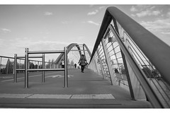 Brucke (tcmappes) Tags: street bridge people blackandwhite france architecture germany niceshot view swiss rhein streefotography