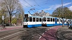 Trams op Koningsdag 15 (Peter ( phonepics only) Eijkman) Tags: city holland netherlands amsterdam transport nederland tram rail bn rails trams strassenbahn noordholland gvb streetcars nederlandse trapkar