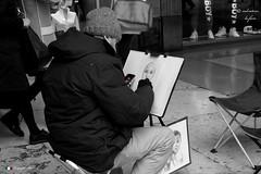 MILANO, RITRATTISTA METROPOLITANO. (Salvatore Lo Faro) Tags: italy canon italia milano corso bianco ritratto lombardia nero vittorioemanuele g16 ritrattista