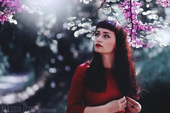 Red V (Alessia.Izzo) Tags: wood red portrait flower tree nature girl canon hair cherry spring poetry bokeh dream fairy dreamy enchanted