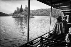 Plitvice Lakes National Park on a rainy day (Roberto Spagnoli) Tags: blackandwhite lake rain ferry lago croatia explore pioggia croazia biancoenero hrvatska plitvice traghetto