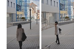 andr (ConcreteLies) Tags: city blue black girl hat female buildings outside outdoors back looking jacket backpack andr
