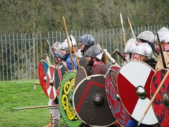 P1000414 (crapatdarts) Tags: fight spears battle duel vikings swords nationaltrust siege chainmail shields corfecastle periodcostume kingalfred saxons crapatdarts