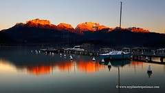 Lake Annecy - France (My Planet Experience) Tags: sunset mountain lake snow france alps reflection annecy water alpes french boat lac f savoie haute forclaz tournette dentsdelanfon lanfonnet wwwmyplanetexperiencecom myplanetexperience teethoflanfon