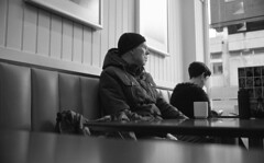 Morning Cuppa (4foot2) Tags: street leica people blackandwhite bw man film monochrome hat breakfast 35mm manchester mono cafe tea drink kodak candid coat trix drinking streetphotography summicron 35mmfilm diafine kodaktrix streetphoto m3 brew peoplewatching reportage streetshot reportagephotography 2016 filmphotography 35mmf2 interestingpeople leicam3 morningcuppa 1200iso manchesterpeople mugoftea 1200asa 35mmf2summicron 4foot2 candidportrate 4foot2flickr 4foot2photostream fourfoottwo