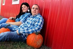 Barnside Photo (alxinhim2) Tags: blue boy red orange white fall love girl smile barn pumpkin outside outdoors happy engagement couple married tennessee ground jeans sit