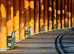 Benches & Pylons Esplanade (Orbmiser) Tags: winter oregon portland nikon esplanade boardwalk benches pylons willametteriver d90 55200vr