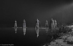 Down by the River (cybersooz) Tags: bw fog night river connecticut foggy newengland riverbank connecticutriver rockyhill foggynight ferrylanding ferrycrossing npy