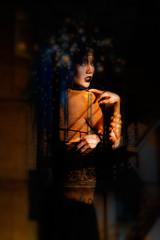 Erin (suramics) Tags: art fashion portraits studio artistic modeling models fabric bluehair boudior highfashion artisticnudes darkbeauty sheerfabric fashionart thecolbyfiles colbyfiles erinparmley