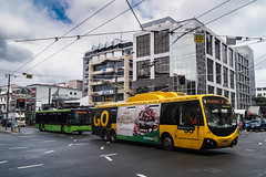 Manners Street, Taranaki Street, Courtenay Place Intersection (andrewsurgenor) Tags: city newzealand urban bus buses yellow electric busse transport transit nz wellington publictransport streetscenes omnibus trolleybus obus trolleybuses citytransport trackless nzbus gowellington