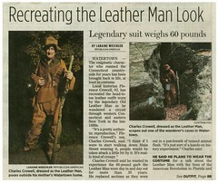 Old Leather Man newspaper article, Nov. 2015 (chescrowel) Tags: leather leatherman costume outfit homeless ct bum historic bocaraton hobo watertown prop tramp wanderer charliecrowell florencetcrowell