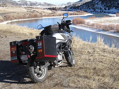 First Ride In 2016.   Montana (montanatom1950) Tags: winter snow ice water montana rivers suzuki dl650 vstrom motorcycletouring jeffersonriver