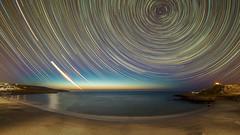 Big Sky (Acero666) Tags: longexposure sea england reflection art beach water night stars landscape aqua cornwall astro stives darkart milkyway 2015 a7r sonya7r ilce7r samyang12mm