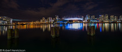 False Creek at Night (Robert Henrickson) Tags: bridge panorama reflection skyline vancouver lights downtown cityscape nightscape falsecreek