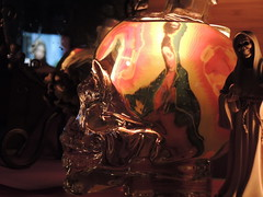 Candle light.. (johnjcardinale) Tags: stilllife reflection glass night dayofthedead skulls mirror lowlight candle religion candlelight virginmary