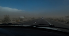 after the rainbow in Cali (utski7) Tags: arizona dusty truck highway roadtrip semi i10 duststorm visibility blowingsand lowvisibility enteringaduststorm