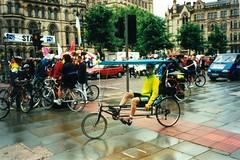 Recumbent in Albert Square 2000 (flowerpotman!) Tags: film manchester cycling 2000 kodak scan cc cycle trans blackpool pennine transpennine tpcc