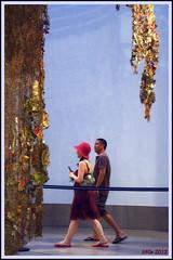 Fleeting Acquaintance (Irina Kiseleva) Tags: blue light shadow red people ny color hat wall museum brooklyn gold exhibition photoborder